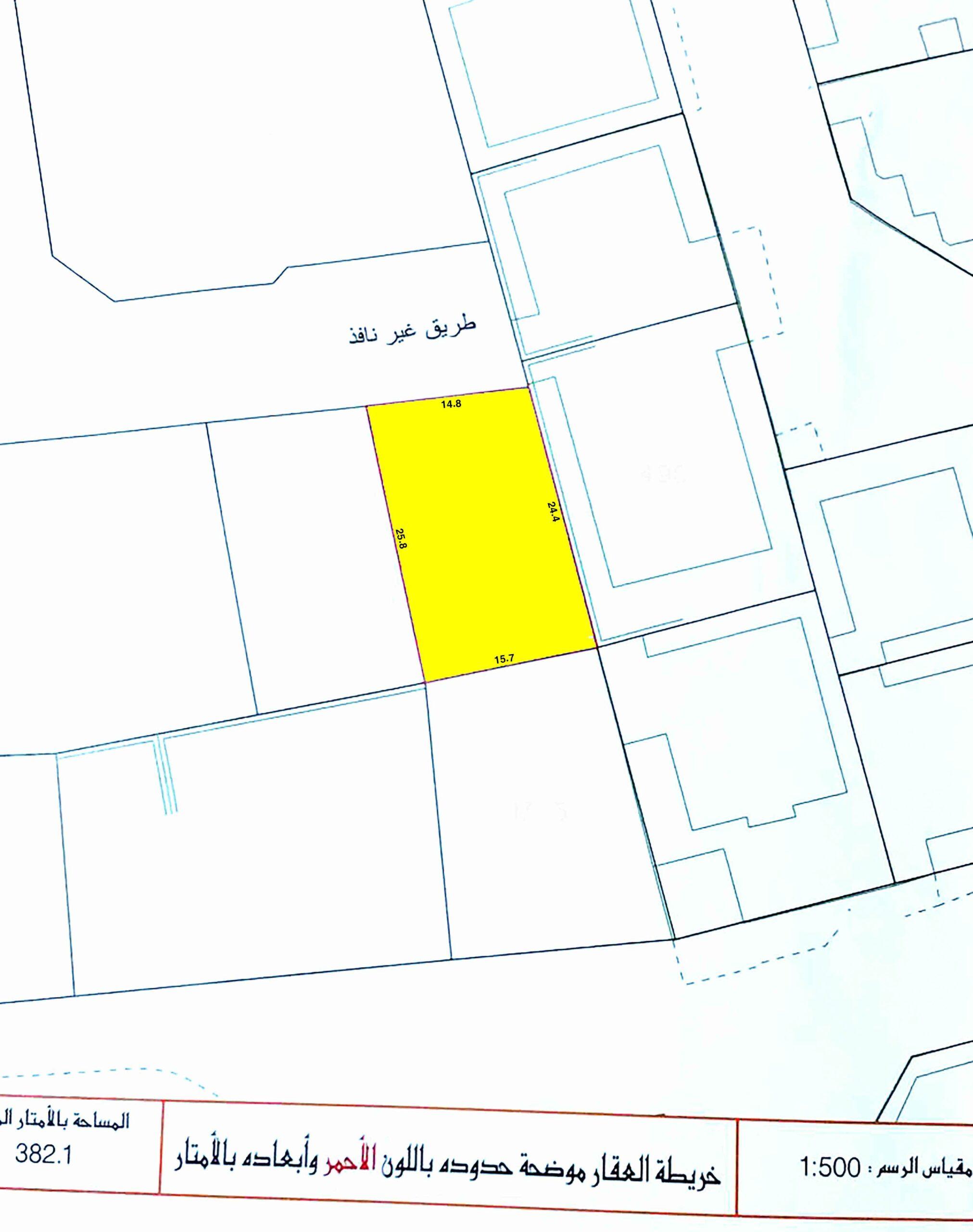 للبيع أرض سكني خاص ( ب ) بمنطقة توبلي، مساحة الارض  382.10متر مربع، مطلوبة بقيمة -/ 98,709 دينار وقابل للتفاوض